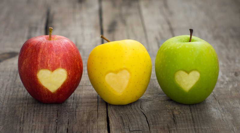 Hearts and apples.